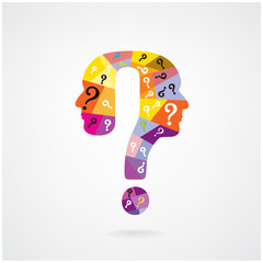 colorful question mark man head symbol.