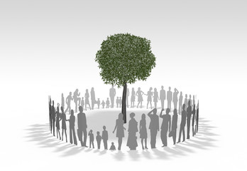 樹木を囲む人物