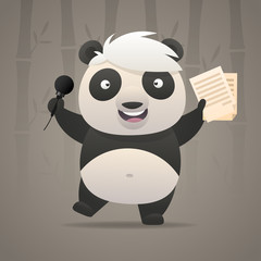 Cheerful panda sings songs and dances