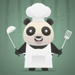 Panda chef holds soup ladle and shovel
