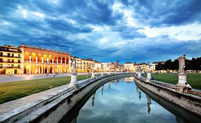 Padova. Prato della Valle. sunset twilight cityscape  view