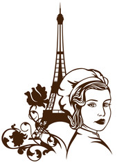 french cuisine - female chef and eiffel tower