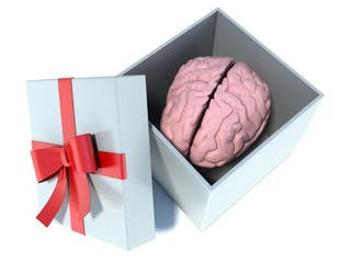 illustration of brain present in white gift box with red ribbon