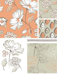 Summer Floral Seamless Patterns and Icons.