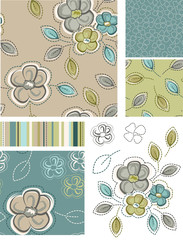 Spring Inspired Seamless Floral Patterns and Icons.