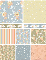 Shabby Chic Rose Floral Vector Patterns.