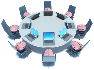 Concept of brainstorm. Circle table, brain and armchairs