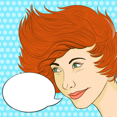 Retro red-haired woman smiling with speech bubble