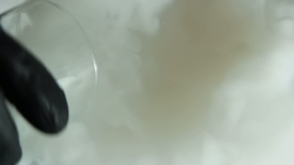 Top view at dry ice in a water.