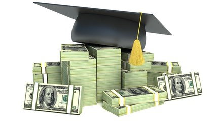 Education concept. Graduation Cap on Stack of Dollar Bills