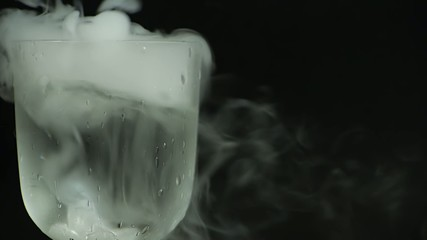 Glass with dry ice.