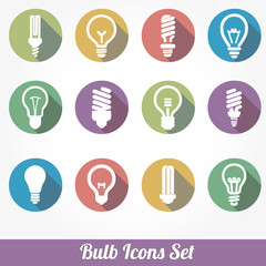 Icons set bulb idea led lamps