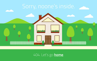 404 Page not found template with empty house