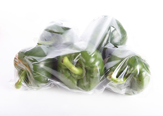 pepper sweet bell wrapped in a plastic bag
