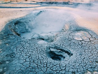 Mud pool at Hverir nature reserve in Myvatn area, Iceland