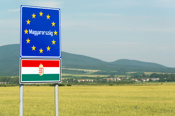 Hungary signpost on the border with Slovakia