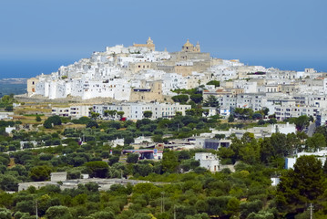 View of the old town Ostuni, Apulia (Italy)