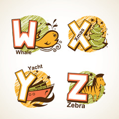 Alphabet set from W to Z