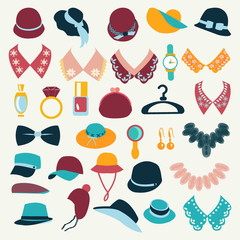Icon Set vector of fashion  accessories-illustration