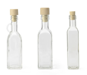 Empty bottles with cork cap