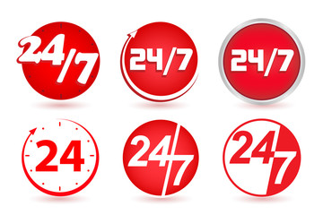24 hours a day, 7 days a week. Time clock. Vector, button, icon