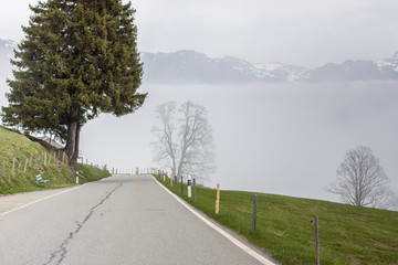 Mountain asphalt route - Switzerland.