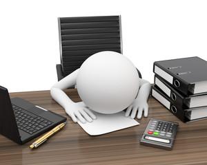 Erschöpft durch Büroarbeit