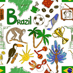 Sketch Brazil seamless pattern