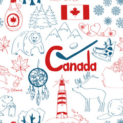 Sketch Canada seamless pattern