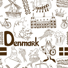 Sketch Denmark seamless pattern