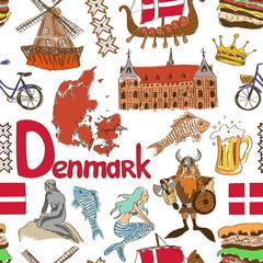 Sketch Denmark seamless pattern