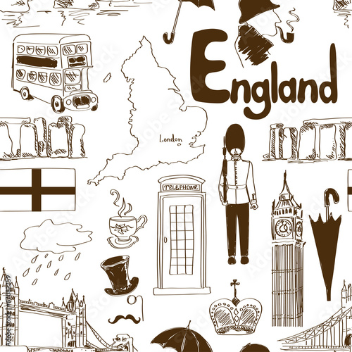 Sketch England seamless pattern - 67082259
