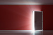 Rays of light through the open white door on red wall - 67082444