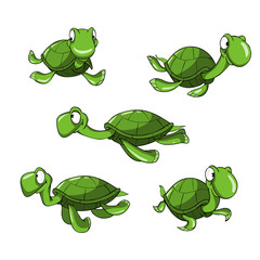 cartoon green turtle in different poses
