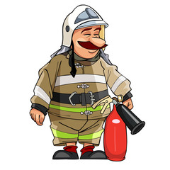 Cartoon fireman with the fire extinguisher