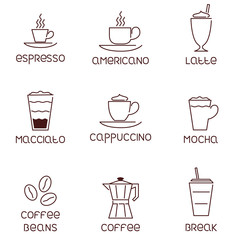 Collection of linear coffee icons with descriptions