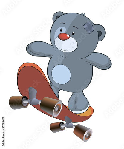 The stuffed toy bear cub and skateboard cartoon