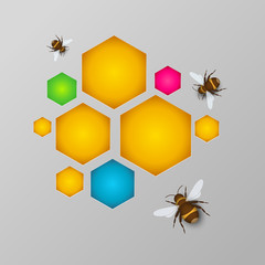 stylized colorful honeycomb with honey and bees, gray background