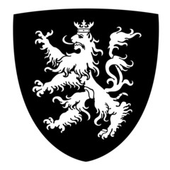 Coat of arms with lion on shield vector illustration