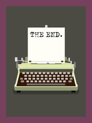 The End - Retro Typewriter Vector Illustration