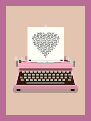 Love Letter - Retro Typewriter Vector Illustration