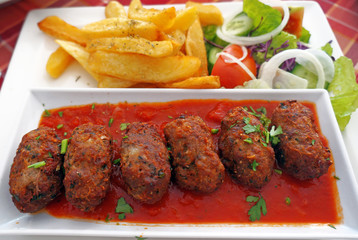 Cypriot food-keftedes (meatballs in sauce)