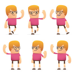 set of dude character in different poses