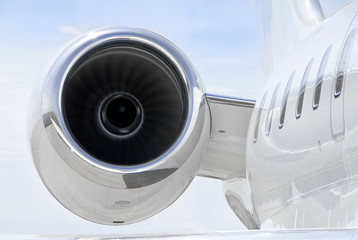 Running Jet Engine on luxury private jet aircraft - Bombardier
