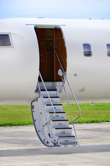 Stairs on a luxury private jet aircraft - Bombardier