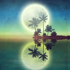 Sea with island with palm trees and full moon at night.