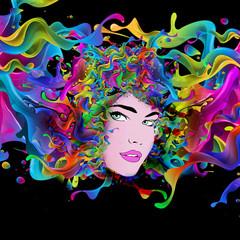 мечтающая абстрактная иллюстрация женщины
