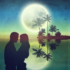 Sea at night. Island with palm trees and silhouette couple.