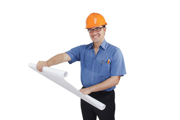 young man in a construction helmet with the project in the hands