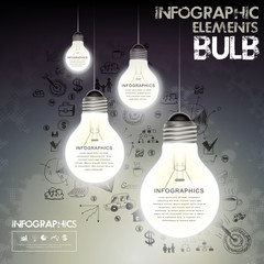 bulbs and hand drawn background infographics
